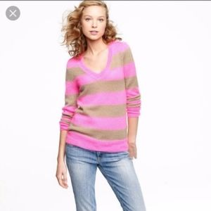 J Crew Pink Brown Striped Wool Sweater V Neck
